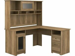 Bush Furniture Cabot 60 L shaped Desk With Hutch Reclaimed Pine Cab001rcp