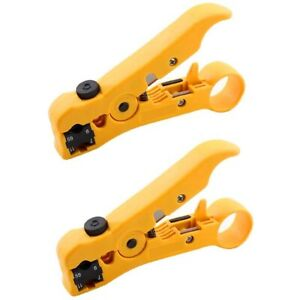 2 Pack Coaxial Cable Stripper Cutter Stripping Tool For Cat5 Cat6 Coax Rg59 rg6