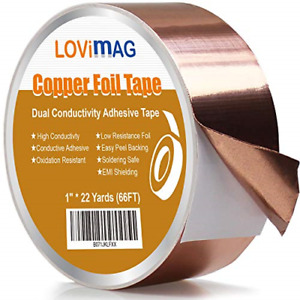 Lovimag Copper Foil Tape 1inch X 66 Ft With Conductive Adhesive For Guitar And