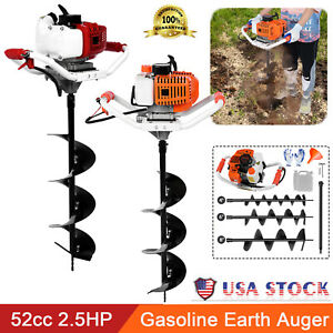 52cc 2 5hp 40 250mm Drill Auger Post Hole Digger Gas Powered Earth Auger