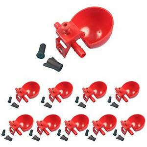 10pcs Automatic Poultry Water Drinking Cups Plastic Drinker Hanging Farm Tool