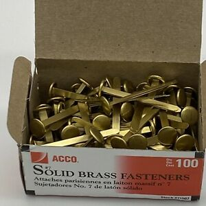 Acco Solid Brass Prong Paper Fasteners 7 2 Capacity Brass 100 box 71507