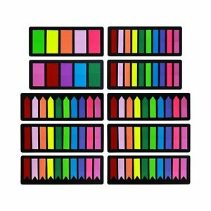 1800 Pcs Colored Page Markers Sticky Index Tabs Arrow Flag Note Tabs Self Adhesi