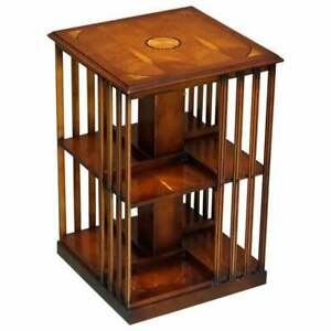Stunning Sheraton Revival Burr Yew Satinwood Revolving Bookcase Side End Table