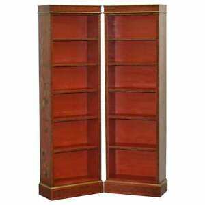 Lovely Pair Of Circa 1880 1900 Chinese Red Lacquered Gold Gilt Painted Bookcases