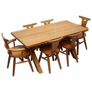 Rare Robin Nance Of St Ives Solid Pine X Framed Dining Table 6 Chairs Carvers