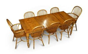 Rrp 23 500 Stewart Linford Burr Yew Elm Dining Table 8 Windsor Chairs