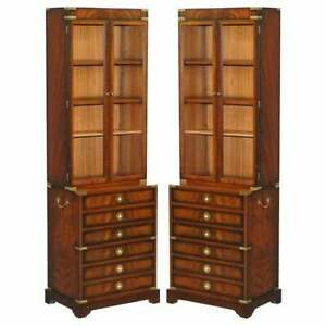 Pair Of Harrods Kennedy Military Campaign Mahogany Bookcases Chest Of Drawers