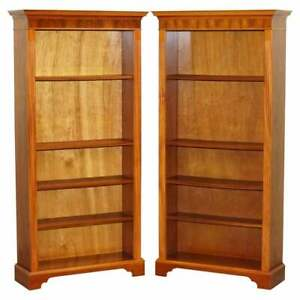 Pair Of Walnut Beresford Hicks Library Bookcases Height Adjustable Shelves