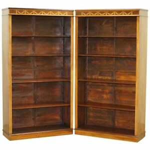 Stunning Pair Of Victorian Sheraton Revival Inlaid Walnut Oak Library Bookcases