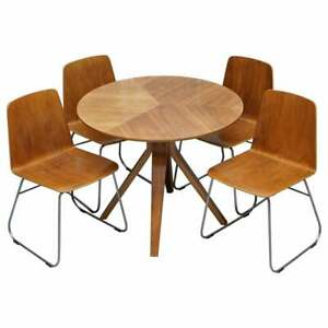 Mid Century Modern Bent Plywood Dining Table Four Chairs With Chrome Bases