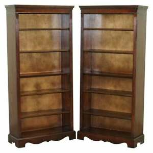 Pair Of Vintage Mahogany Framed Library Bookcases On Wheels Adjustable Shelves