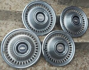 Set Of 4 Vintage Oem 1971 1972 Chevrolet Chevy Impala 14 Hubcaps Wheel Covers