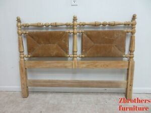 Vintage Rush Woven French Country Rustic Headboard Bed Full Size