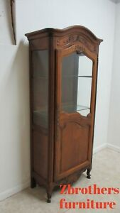 Antique French Country Carved Slender Hutch Storage Cabinet