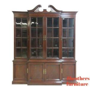 Hickory Chair Co Mahogany Chippendale China Cabinet Hutch Curio Crystal Display