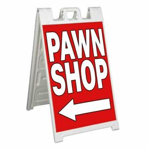Pawn Shop Signicade 24x36 Aframe Sidewalk Sign Banner Decal Left Arrow Buy Sell