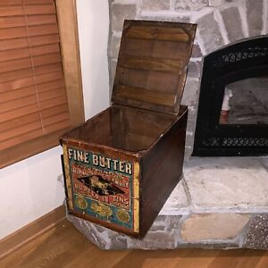Antique 1888 Diamond Creamery 22 Butter Shipping Crate Box Vintage Chest Trunk