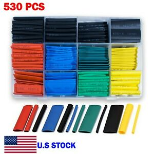 530 Pcs Heat Shrink Tubing Assortment Kit 2 1 Wire Insulation Cable Wrap Usa