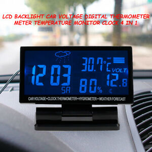 Lcd Digital Car Clock Thermometer Hygrometer Weather Forecast Universal Durable