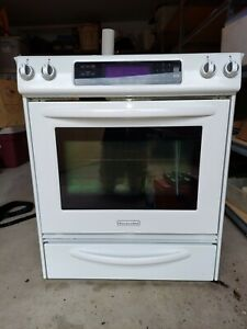 30 Slide in Kitchenaid Electric Range Flat Top white convection Oven