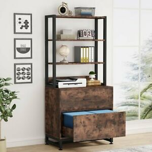 Lateral File Cabinet W 2 Drawer Letter Size Large Filing Cabinet Printer Stand