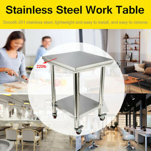 24 x24 Stainless Steel Food Prep Table Kitchen Metal Table 2 Layer With 4wheels