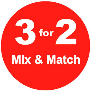 3 For 2 Mix Match Red Promotional Sale Stickers Labels Tags 6 Sizes Available