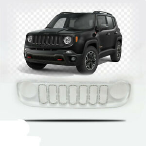 Fits 2015 2019 Jeep Renegade Front Upper Grille Grill Silver
