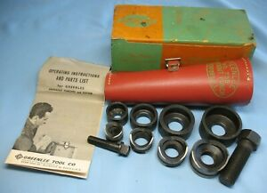 Vintage Greenlee No 735 Knockout Punch Tool Set Instructions Box Leather Case