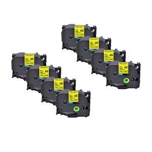 8pk Fits Brother P touch 0 94 Pt 1400 Tz 651 Tze 651 Black On Yellow Label Tape
