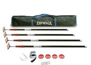 Zipwall With 4 10 Ft steel Spring Loaded Poles Head Plates Tethers Grips case