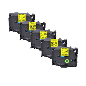 5pk Fits Brother P touch 0 94 Pt 1400 Tz 651 Tze 651 Black On Yellow Label Tape