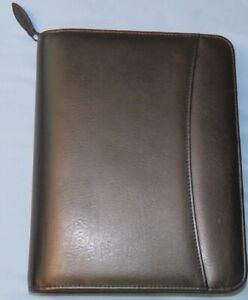 Classic Franklin Covey Black Faux Leather 7 1 25 Rings Zip Planner Binder Vg