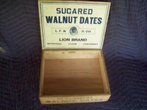 Old Vintage Antique L F D Co Wooden Box Sugared Walnut Dates With Finger Joints