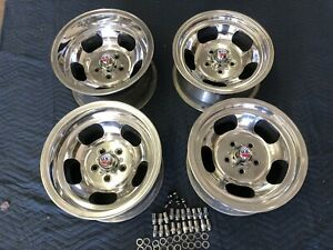 4 Vintage 15x8 5 15x7 Polished Real Us Indy Mags Nice 5 On 4 1 2 Ford Mopar