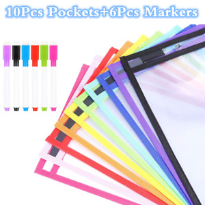 10pcs Dry Erase Pockets Sleeves Sheet Protector Oversized School Daycare 6 Pens