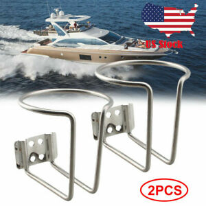 2x Stainless Steel Ring Like Drink Cup Holder For Car Boat Yacht Truck Rv
