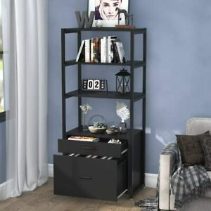 Tribesigns Black Bookcase Bookshelf 4 tier Modern File Cabinet With 2 Drawers