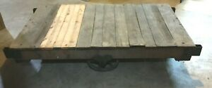 The Fairbanks Co Factory Cart Industrial Railroad Coffee Table