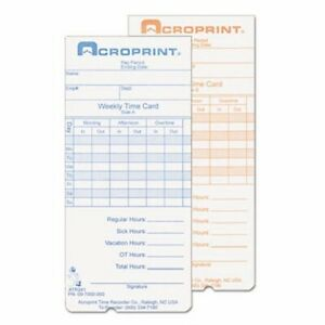 Acroprint Weekly Time Cards For Atr240 And Atr260 250 bx acp097000000