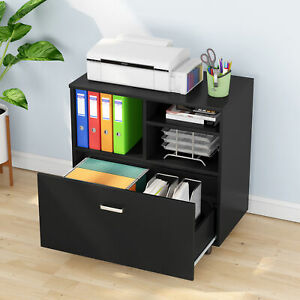 Tribesigns Wood File Cabinet Printer Stand W 5 Rolling Casters Filing Cabinet