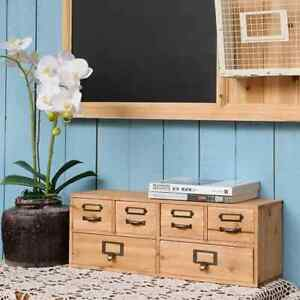 Rustic Wooden Desk Organizer Drawers Set With Metal Holder