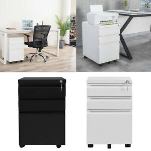 Home Office Heavy Duty File Cabinet Storage Filing Cabinet W 3 Drawers Locking