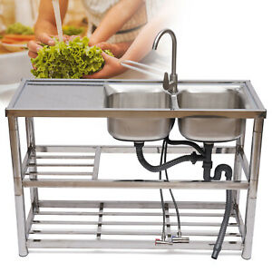 Commercial Kitchen Sink With Stand Tool Holder Hot Cold Mixer Faucet Stainless