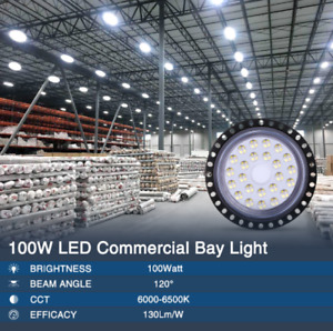 100w Ufo Led High Bay Light Warehouse Industrial Facility Lighting 10000lm