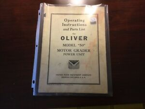 Oliver Model 50 Motor Grader Power Unit Operator s And Parts Manual