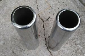 Pair 2 Chrome Round Pencil Exhaust Tips Used