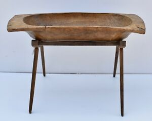 Antique Hand Hewn Trog Or Dough Bowl On Oak Stand