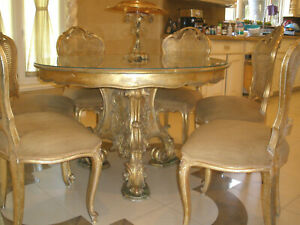 Offer Stunning 7pc Antique French Round Dining Room Gilt Carved Table Chairs Set